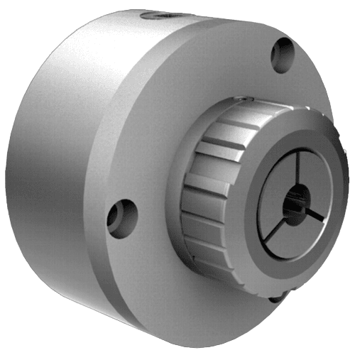 Manually operated collet chuck with cyl. seat
