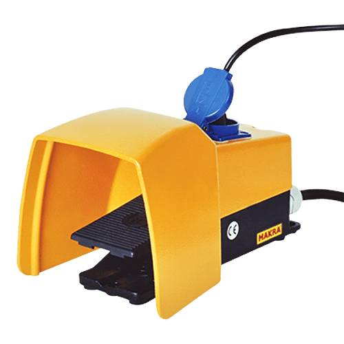 Foot switch with socket 230V for edge deburring machine Makra