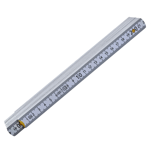 Folding ruler wood mm/inch, white, 2m