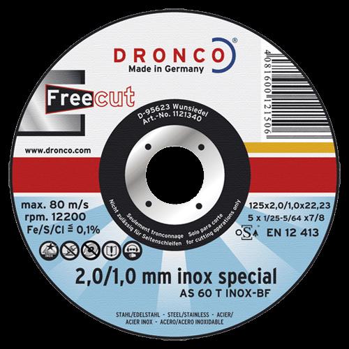 DRONCO Trennscheibe AS 60 T INOX, Ø125 x 2,0 x 22,23 mm, Freecut