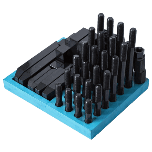 Clamping tool assortment in wooden stand, 58 pcs.