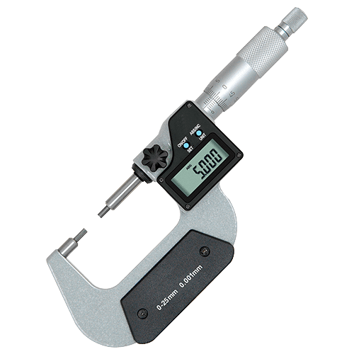 Outside micrometer with stepped measuring surfaces Type 686