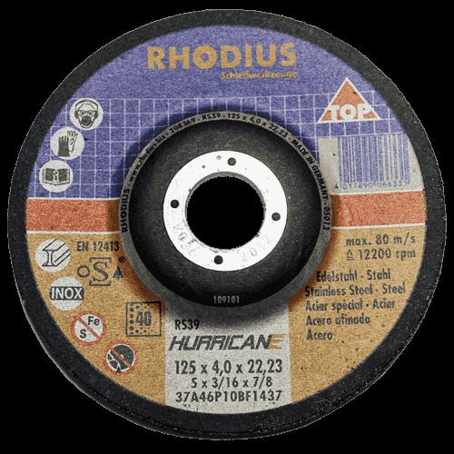 RHODIUS Schruppscheibe RS39 HURRICANE, Ø125 x 7,0 x 22,23 mm, gekröpft