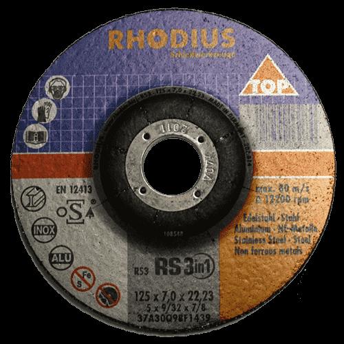 RHODIUS Schruppscheibe RS3in1, Ø125 x 7,0 x 22,23 mm, gekröpft