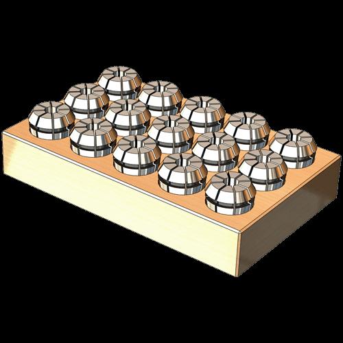OZ Spannzangen Set DIN 6388 auf Holzleiste