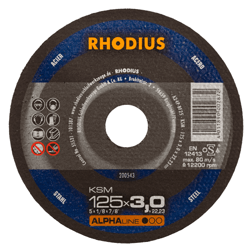 RHODIUS cut-off wheel KSM, Ø125 x 3.0 x 22.23 mm, straight