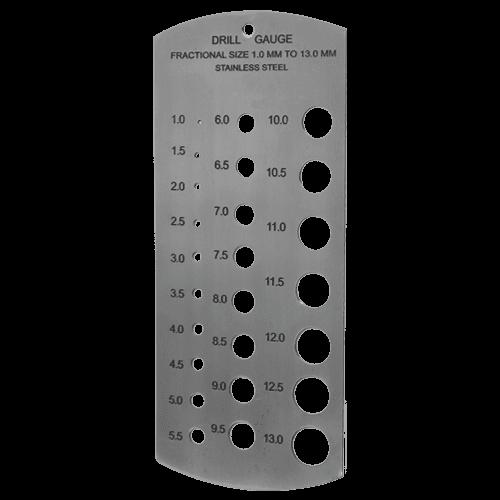 Millimeter-Lochlehre aus INOX, 1 - 13 mm
