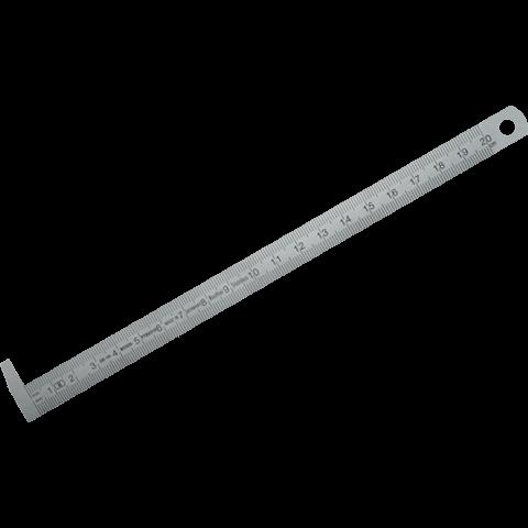 Biegsamer Stahlmaßstab mit 90° Anschlaghaken, DIN 2004/22/EGII